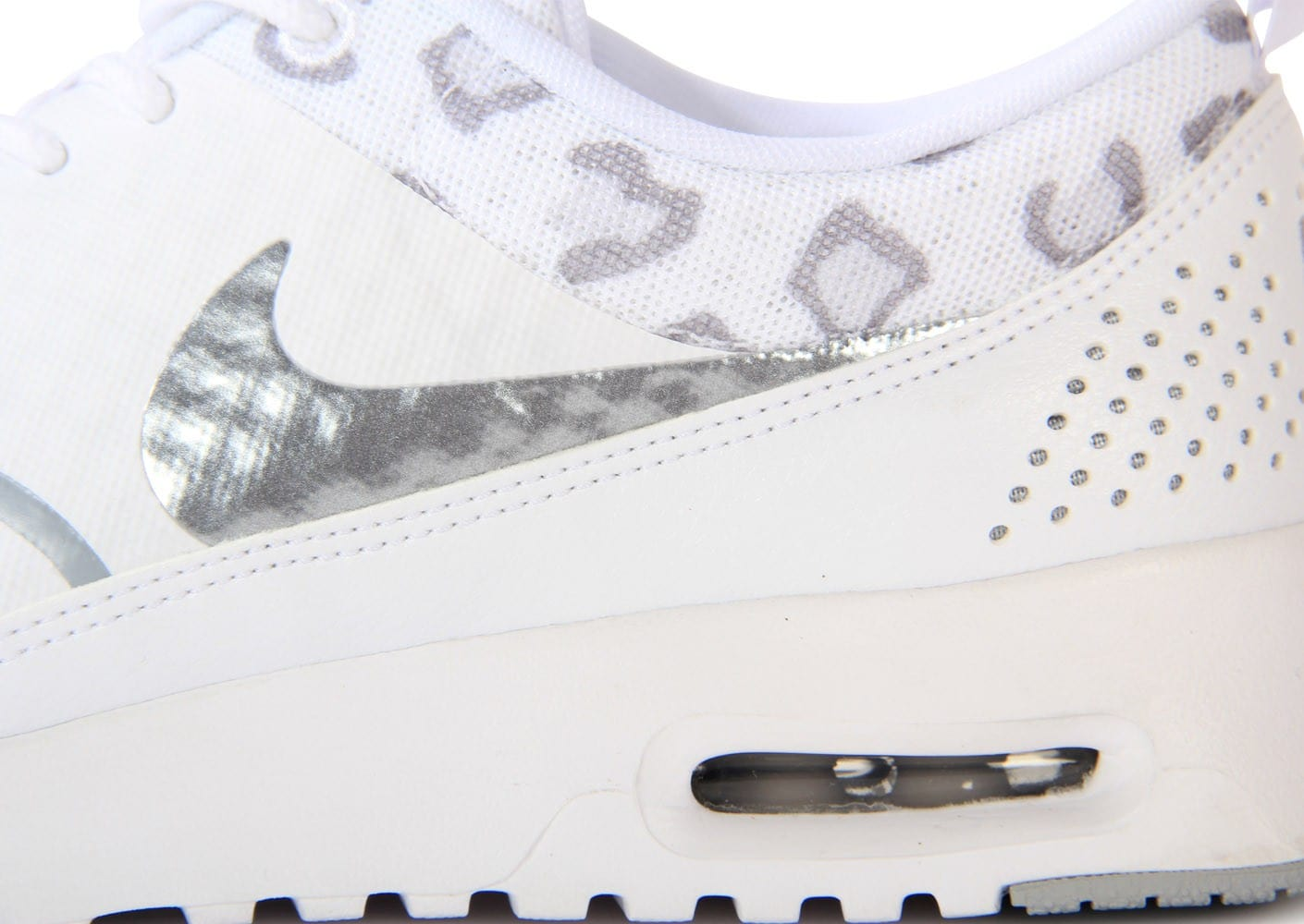 best service 96fbf 9cbe1 chaussures nike air max thea print leopard blanche zoom detail