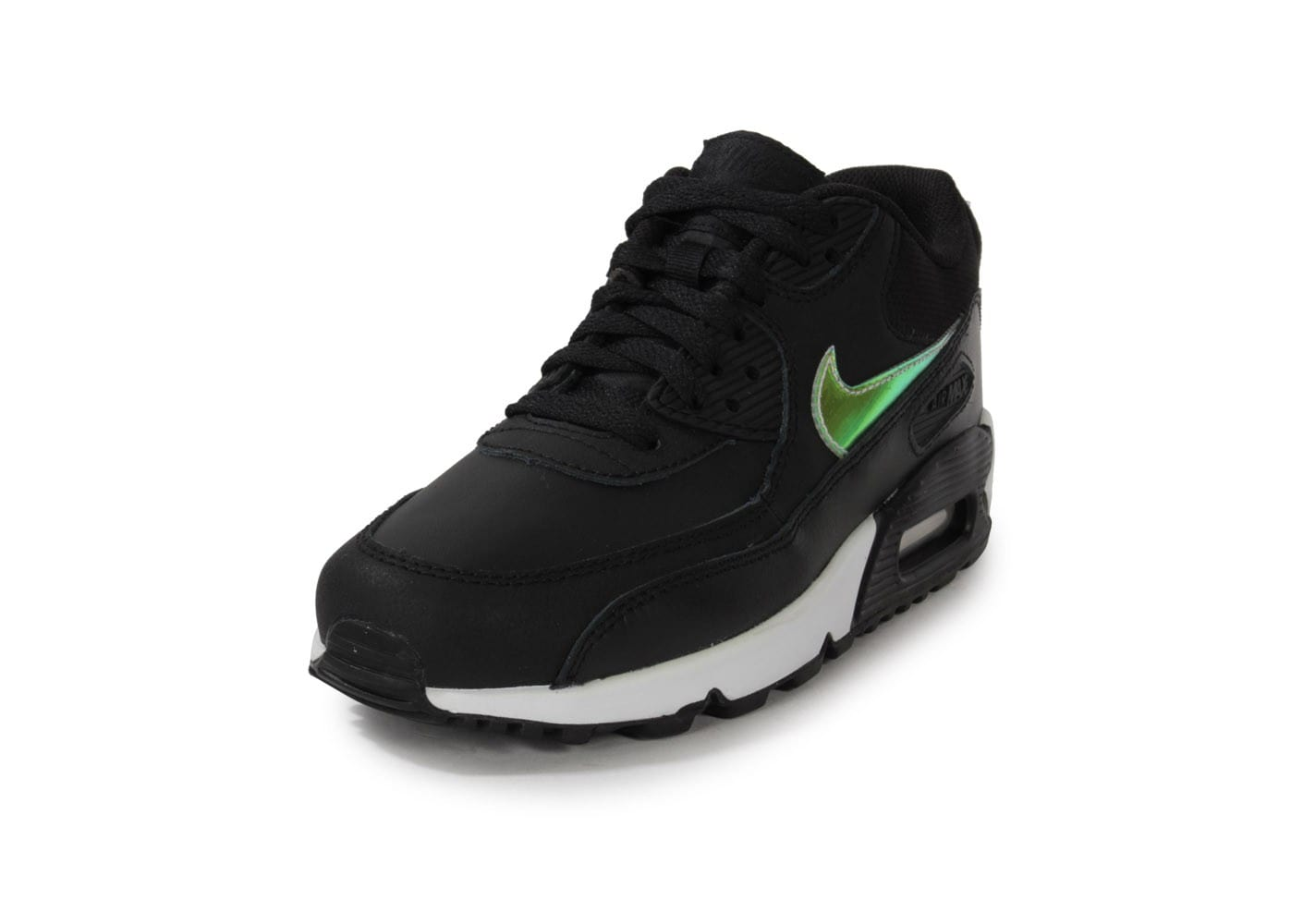 hot sale online a82fa 58cea Chaussures Nike Air Max 90 Noir Iridescent Junior vue avant . ...