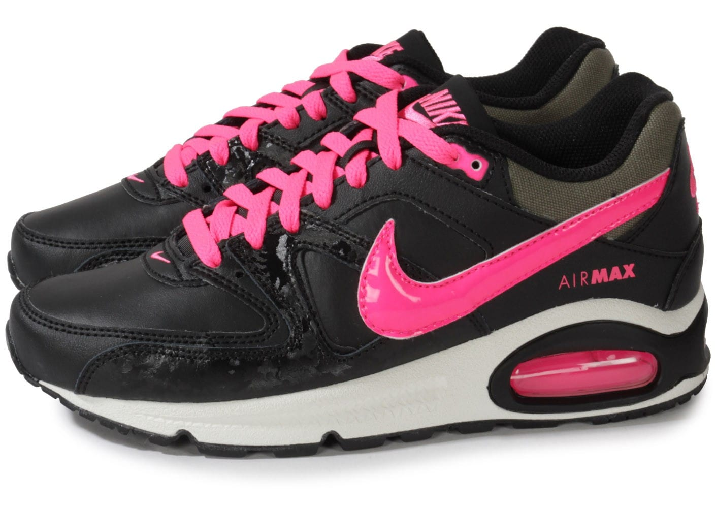 nike air max command junior noire et rose chaussures chaussures chausport. Black Bedroom Furniture Sets. Home Design Ideas