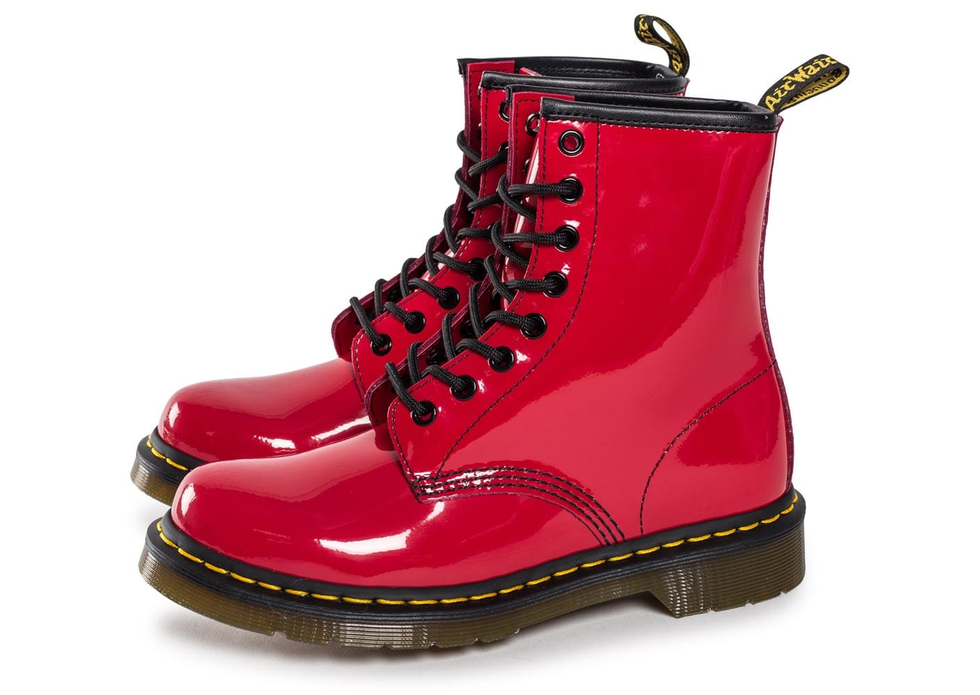 dr martens 1460 rouge vernis chaussures femme chausport