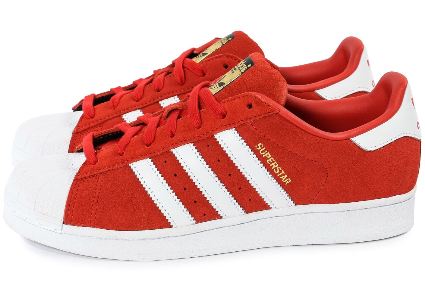 adidas superstar suede rouge et blanche chaussures homme chausport. Black Bedroom Furniture Sets. Home Design Ideas