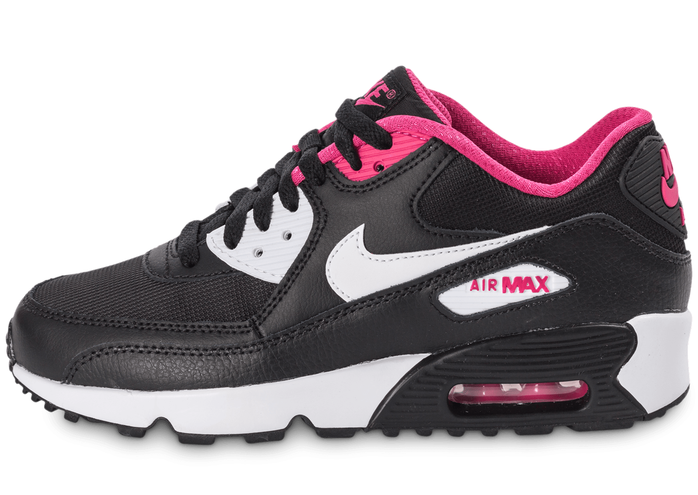 nike air max 90 mesh junior noir et rose chaussures toutes les baskets sold es chausport. Black Bedroom Furniture Sets. Home Design Ideas