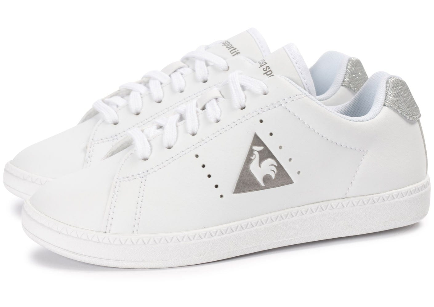 soldes le coq sportif court one glitter enfant blanche chaussures toutes les baskets sold es. Black Bedroom Furniture Sets. Home Design Ideas