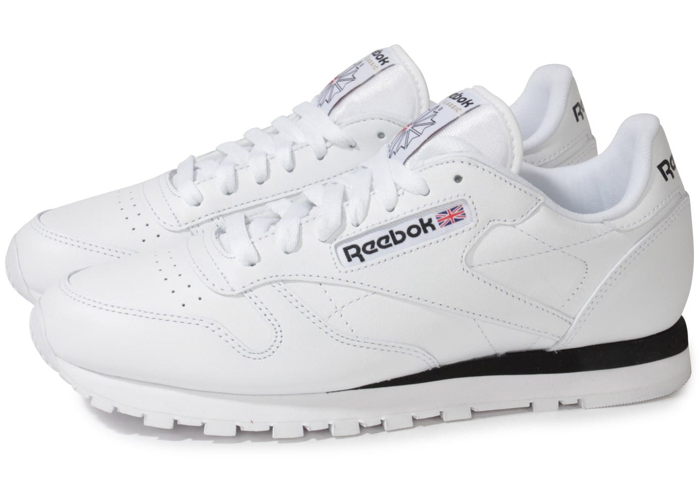 reebok classic leather blanche chaussures homme chausport. Black Bedroom Furniture Sets. Home Design Ideas
