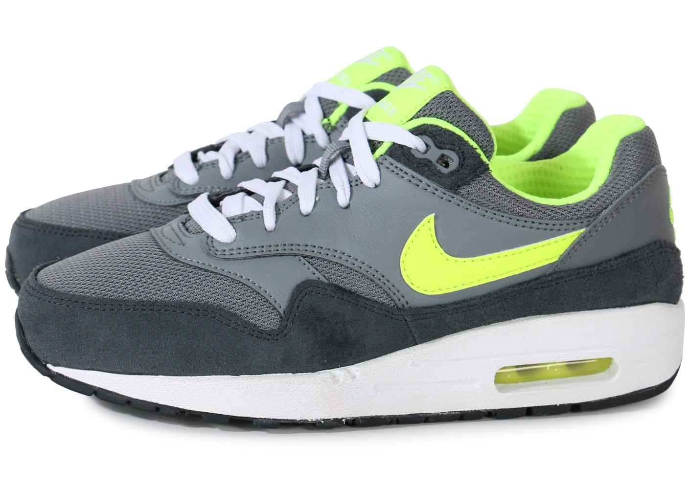 nike air max 1 junior grise volt chaussures chaussures chausport. Black Bedroom Furniture Sets. Home Design Ideas