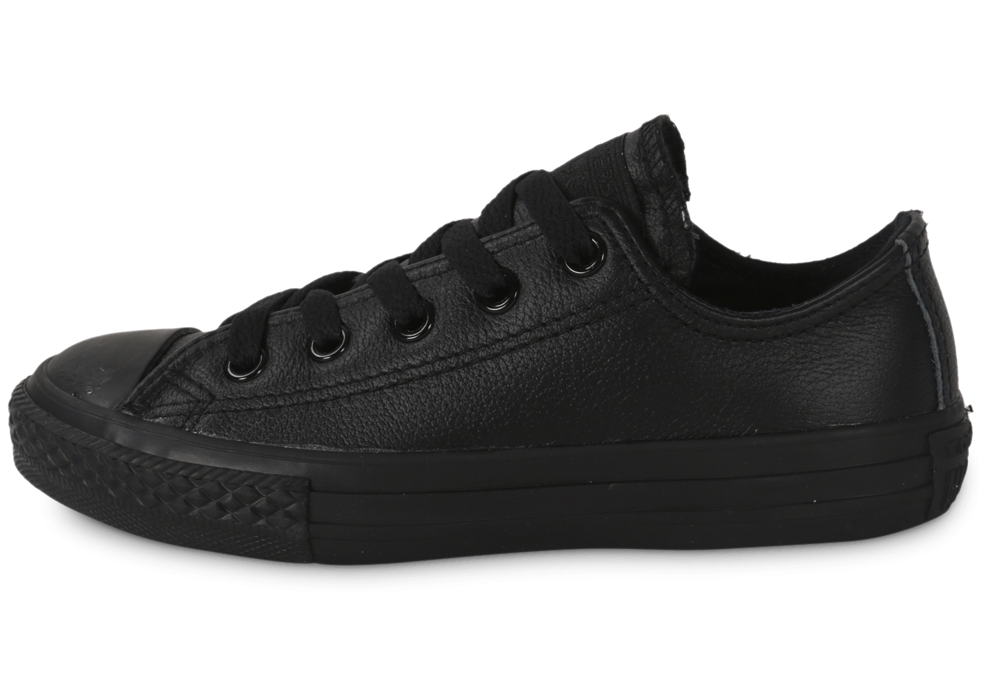 converse chuck taylor all star low enfant cuir noir chaussures chaussures chausport. Black Bedroom Furniture Sets. Home Design Ideas