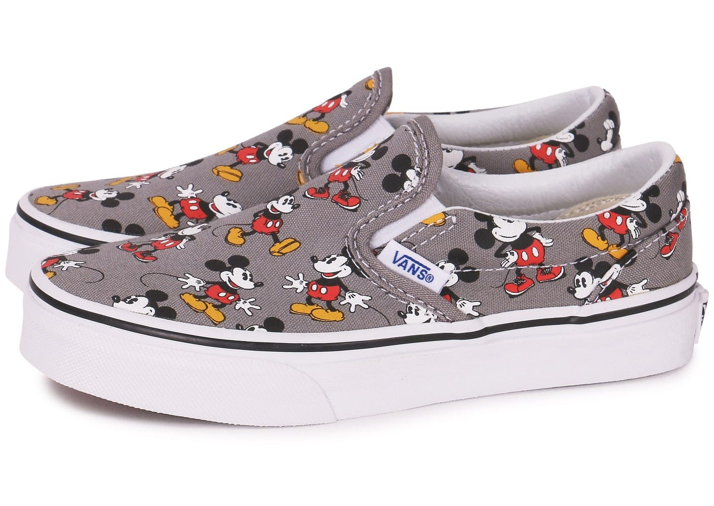 vans classic slip on disney mickey enfant grise chaussures chaussures chausport. Black Bedroom Furniture Sets. Home Design Ideas