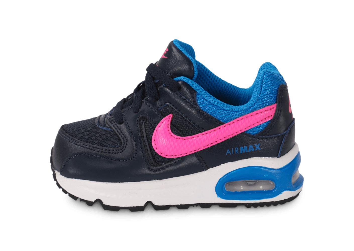 save off 2c54d f34b6 chaussures nike air max command bebe noir rose vue exterieure