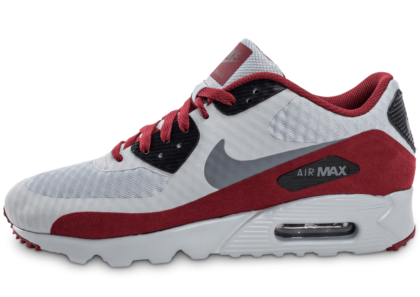 soldes nike air max 90 ultra essential grise et bordeaux chaussures homme chausport. Black Bedroom Furniture Sets. Home Design Ideas