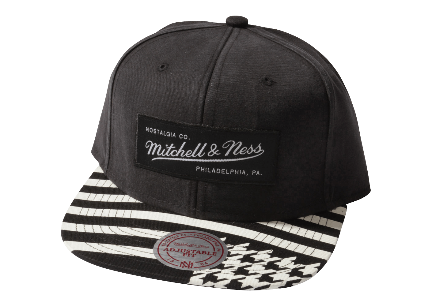 mitchell ness casquette snapback houndstooth noire et blanche casquettes chausport. Black Bedroom Furniture Sets. Home Design Ideas