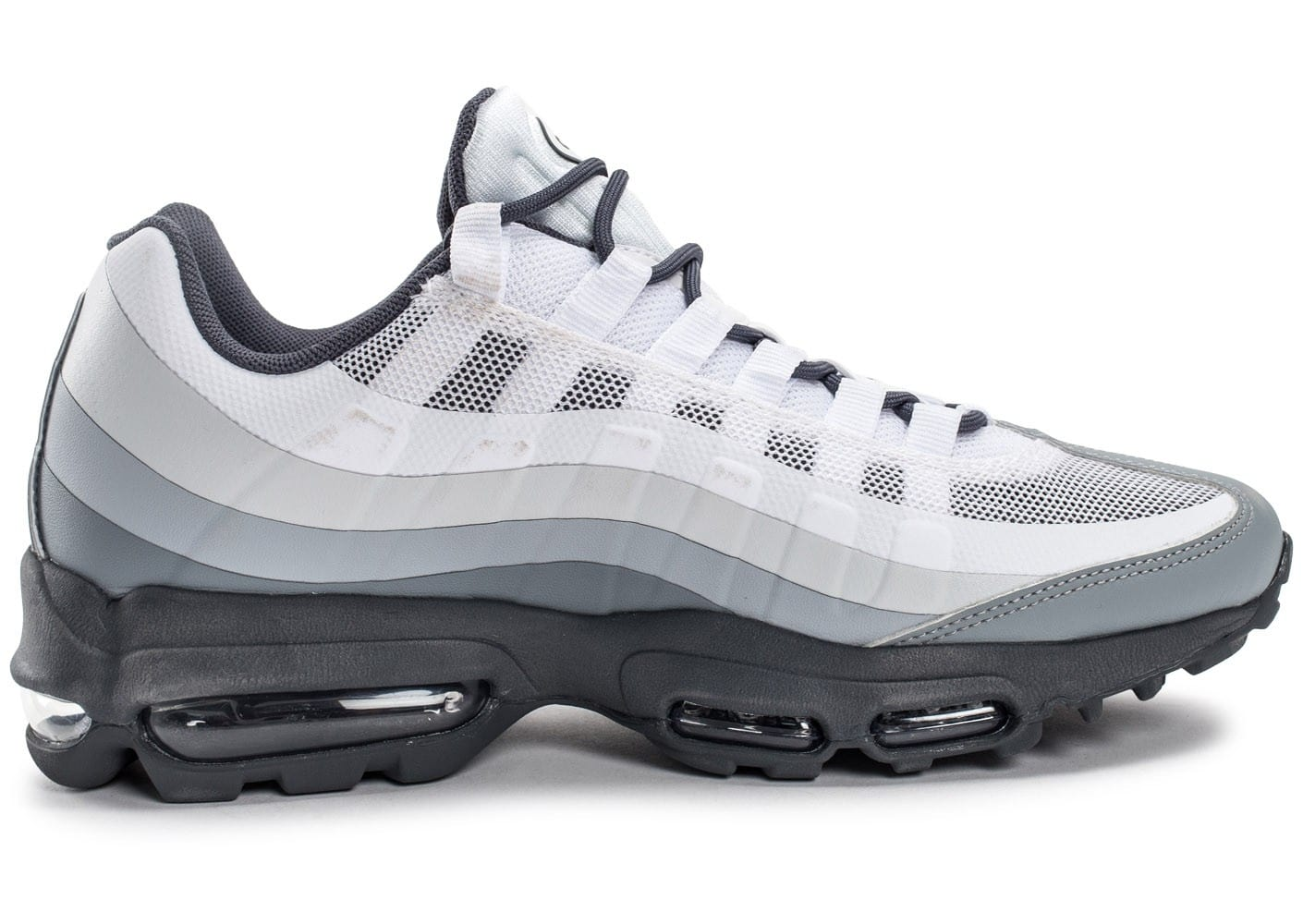 low priced 8163d aa96f chaussures nike air max 95 ultra blanche et grise vue dessous semelle