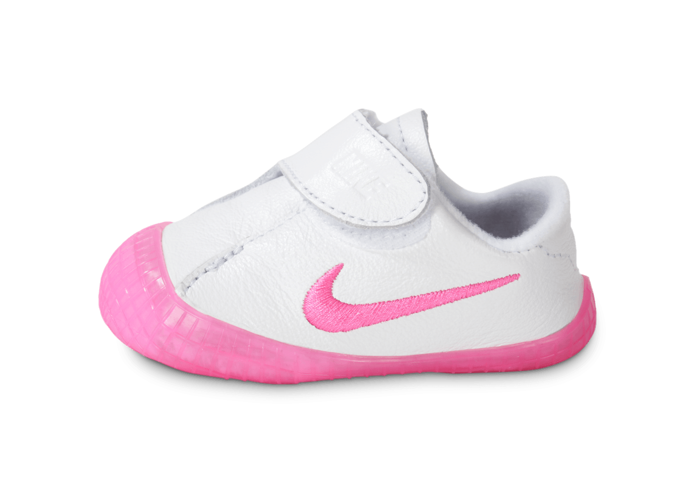 separation shoes c520b acc8f ... chaussures nike crib waffle bebe blanche et rose vue exterieure