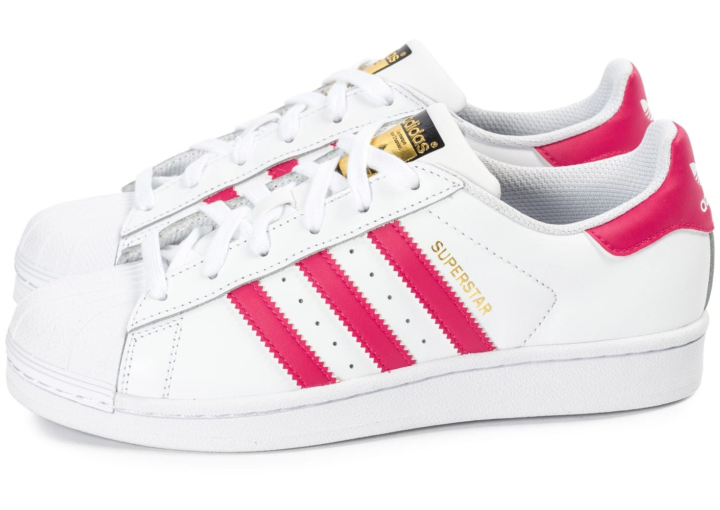 adidas superstar foundation junior blanche et rose chaussures adidas chausport. Black Bedroom Furniture Sets. Home Design Ideas