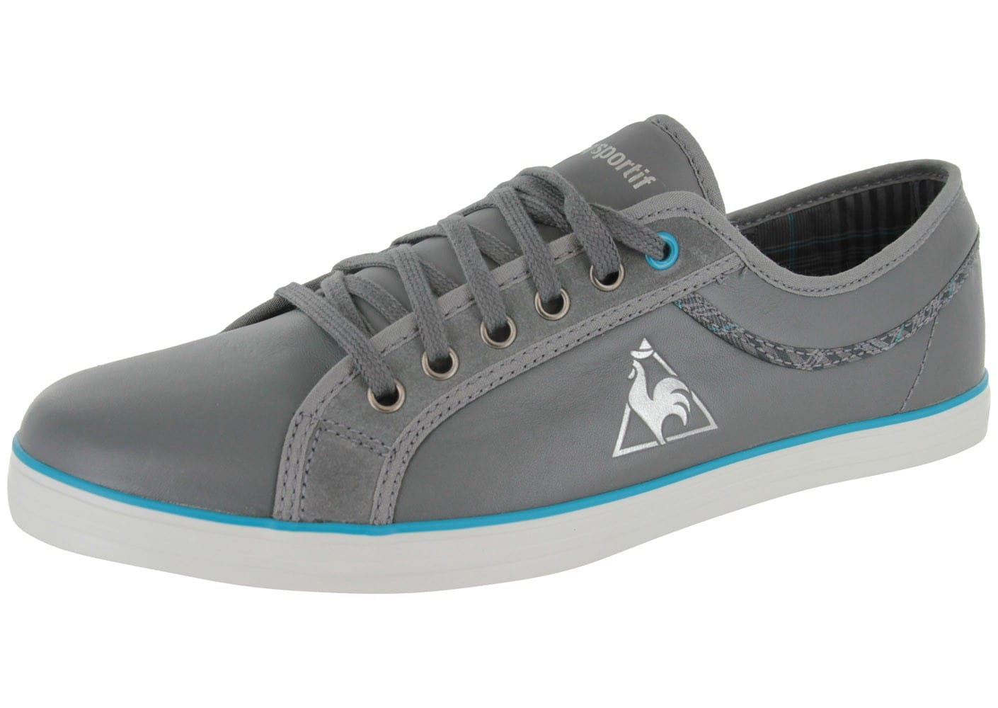 le coq sportif honfleur lea plaid grise chaussures homme chausport. Black Bedroom Furniture Sets. Home Design Ideas