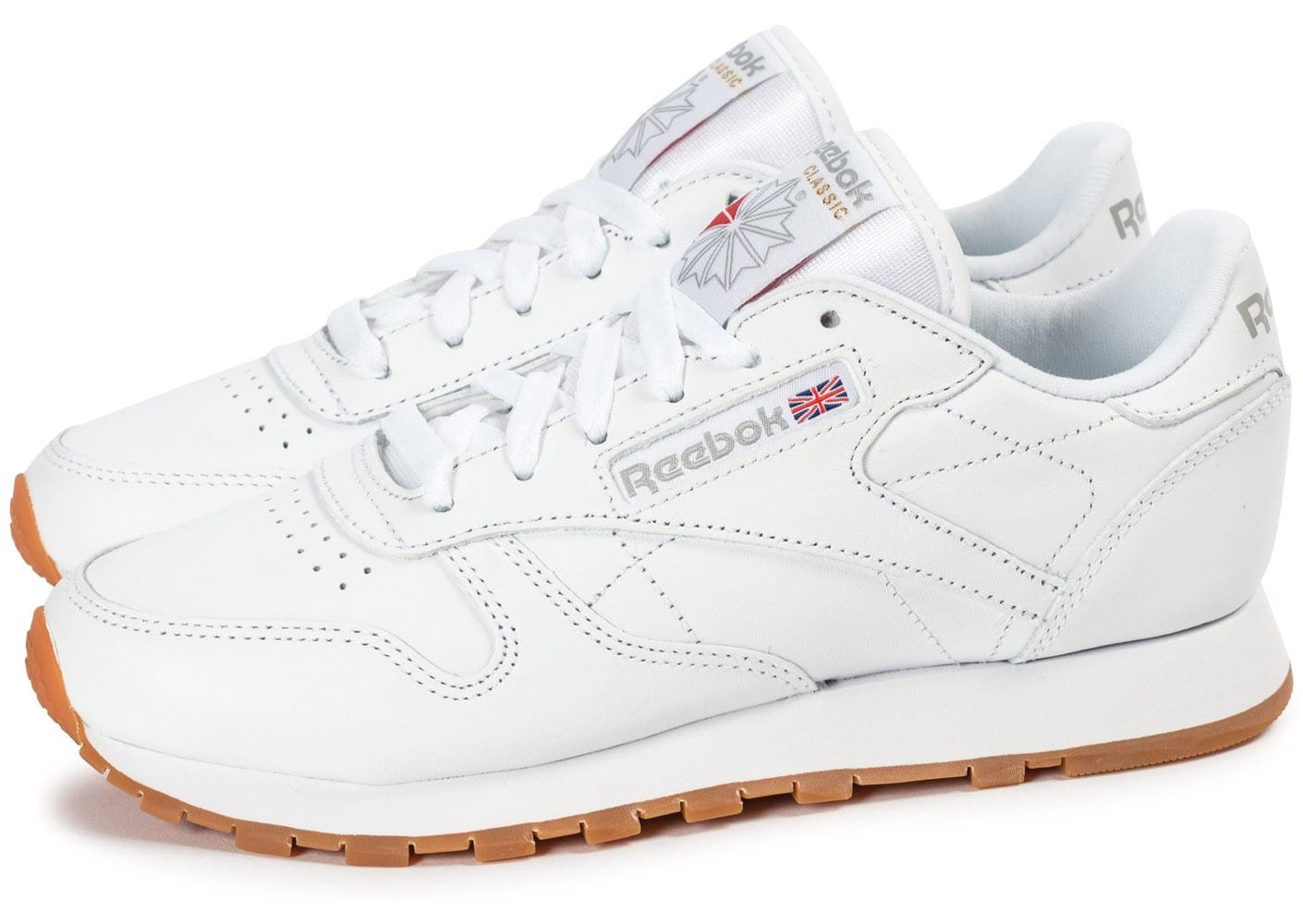 reebok classic leather w gum blanche chaussures pour lyc ens chausport. Black Bedroom Furniture Sets. Home Design Ideas