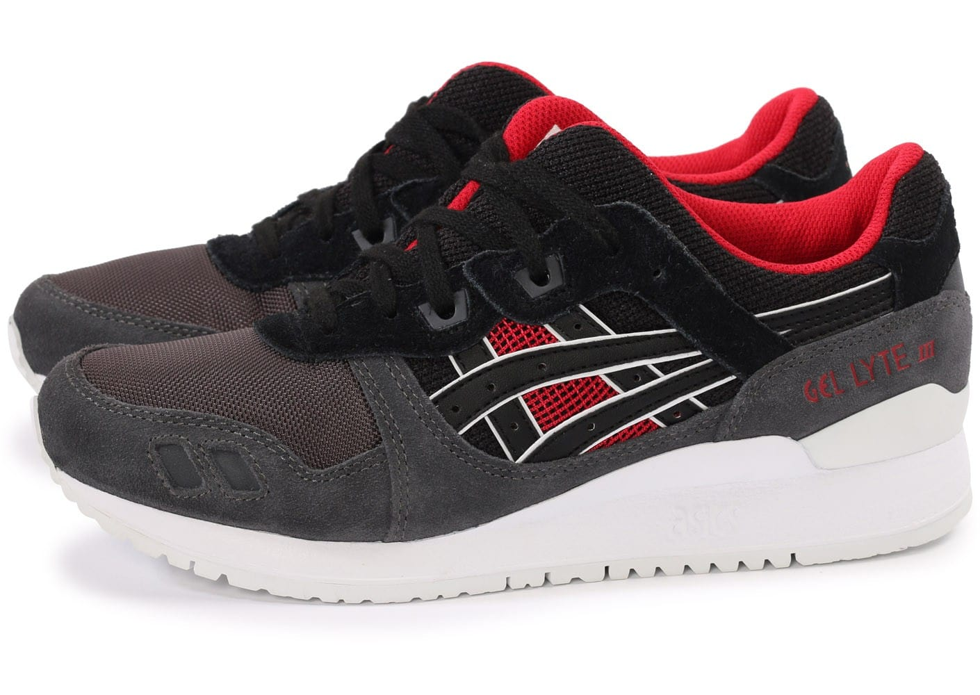 asics gel lyte iii noir et rouge chaussures homme chausport. Black Bedroom Furniture Sets. Home Design Ideas