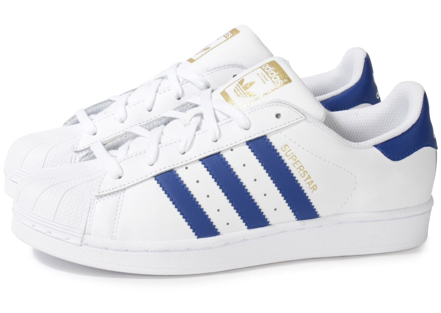 soldes adidas superstar foundation blanc bleu chaussures homme chausport. Black Bedroom Furniture Sets. Home Design Ideas