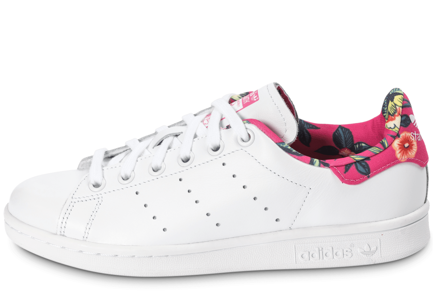 a882c0bc4a2 ... chaussures adidas stan smith floral blanche vue exterieure
