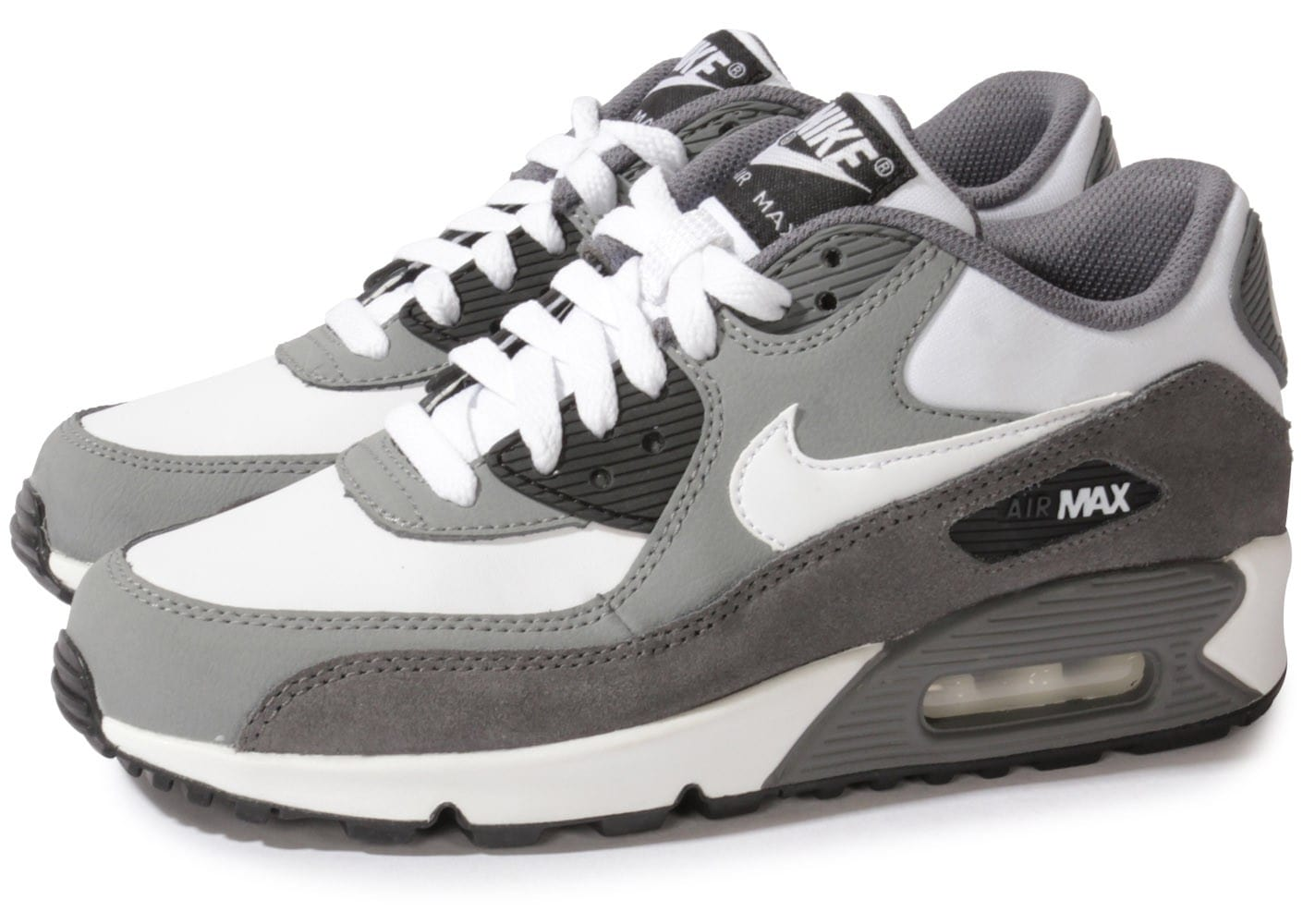 nike air max 90 blanche grise chaussures chaussures chausport. Black Bedroom Furniture Sets. Home Design Ideas