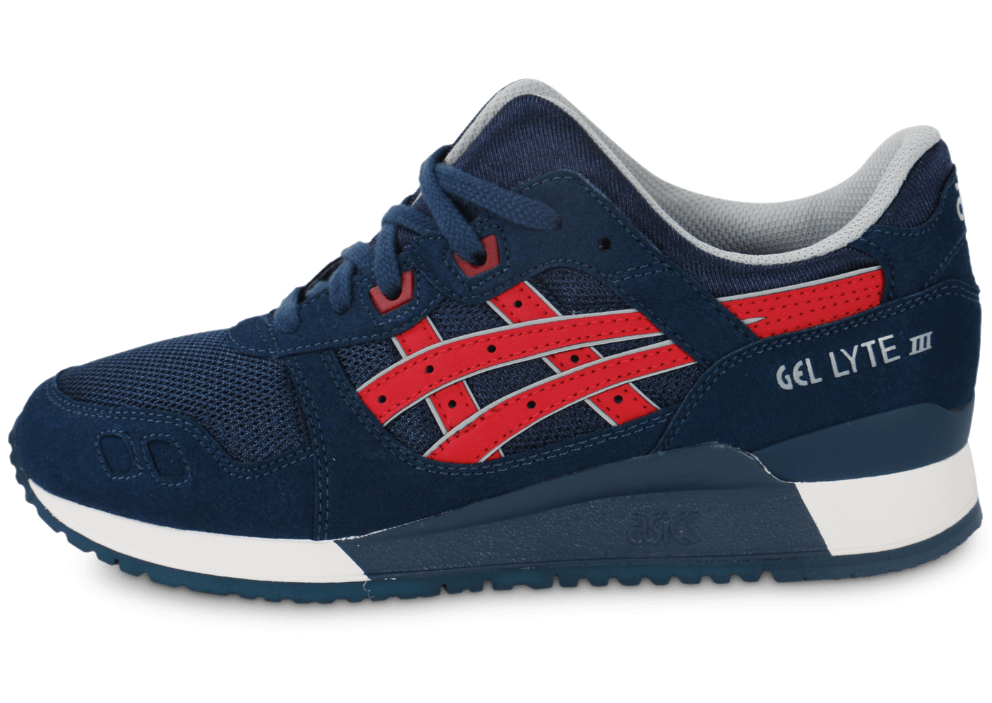 asics gel lyte 3 bleu marine et rouge chaussures baskets homme chausport. Black Bedroom Furniture Sets. Home Design Ideas