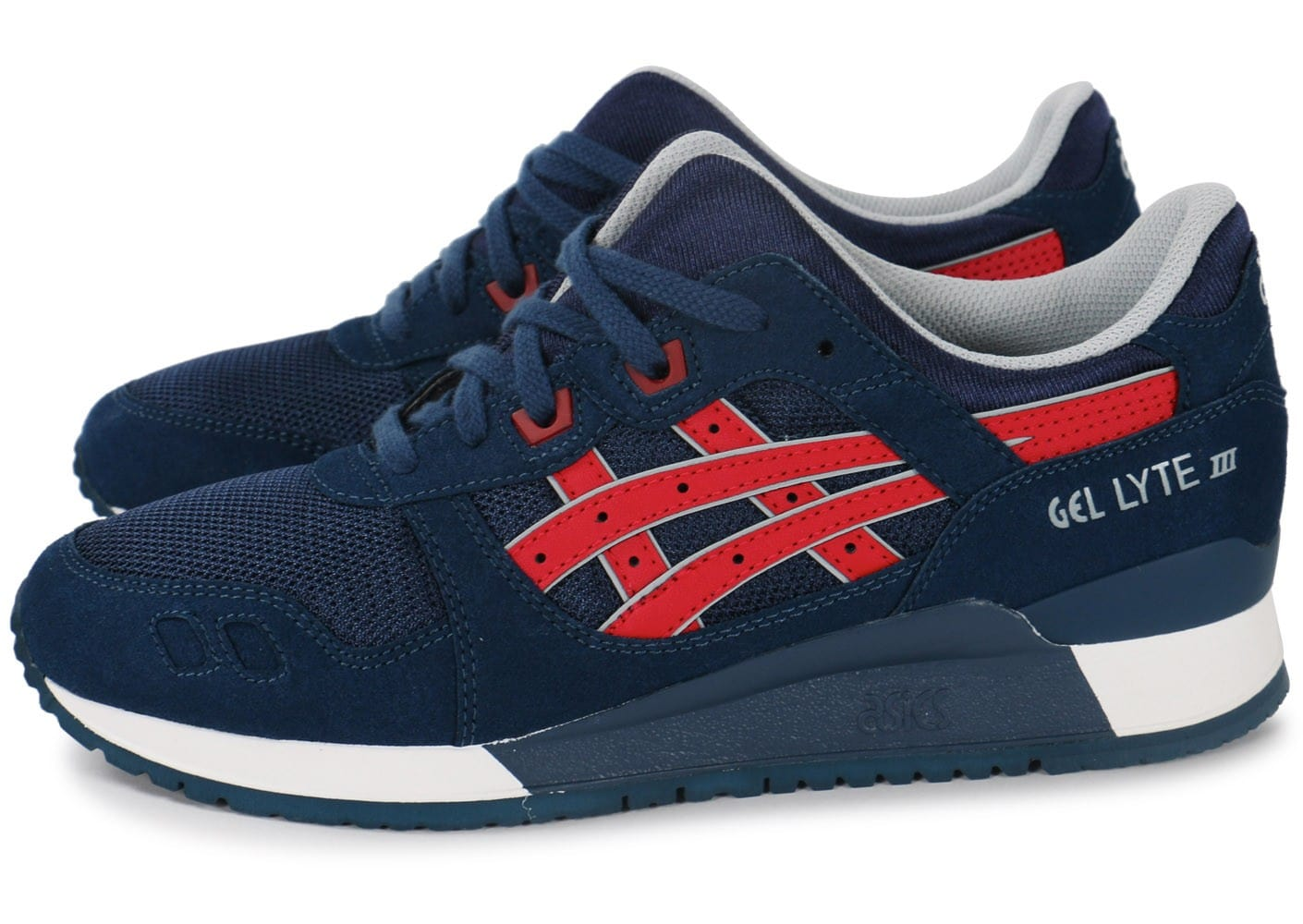soldes asics gel lyte 3 bleu marine et rouge chaussures homme chausport. Black Bedroom Furniture Sets. Home Design Ideas