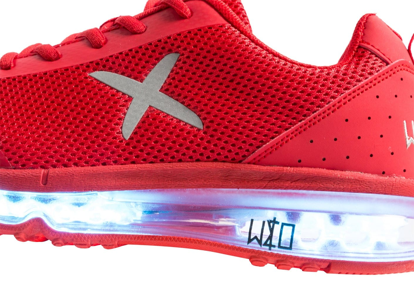Chaussures Wize & Ope Light XRun LED rouge vue dessus