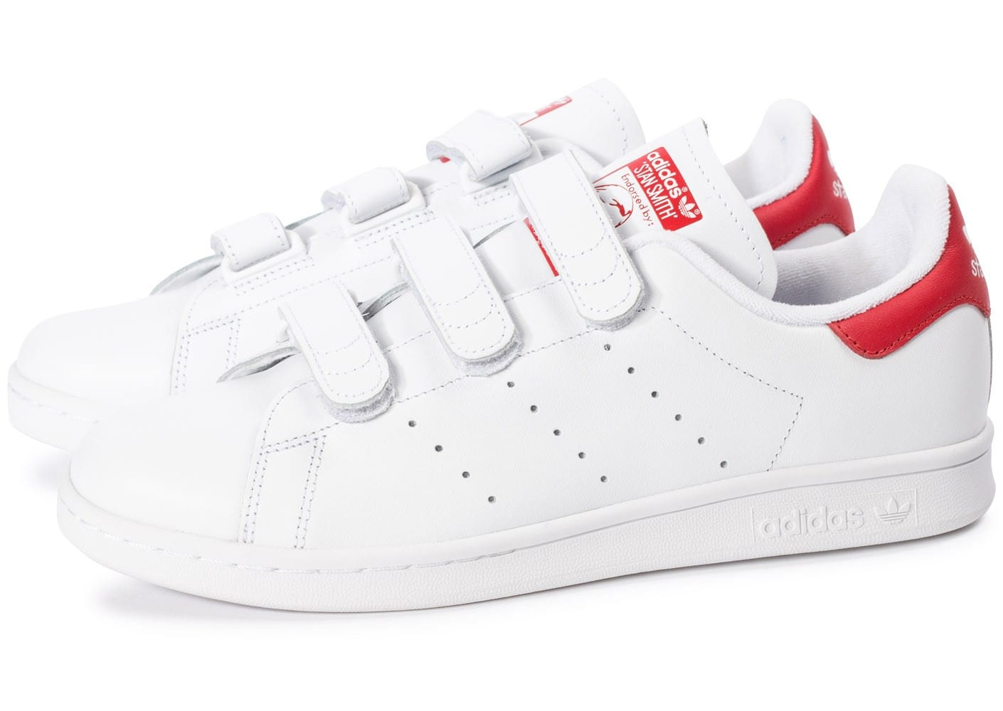 adidas stan smith cf velcro blanc rouge chaussures homme chausport. Black Bedroom Furniture Sets. Home Design Ideas