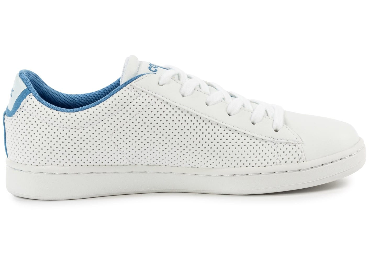 Lacoste carnaby evo junior blanche et bleue chaussures - Lacoste carnaby evo cls baskets en cuir perfore ...