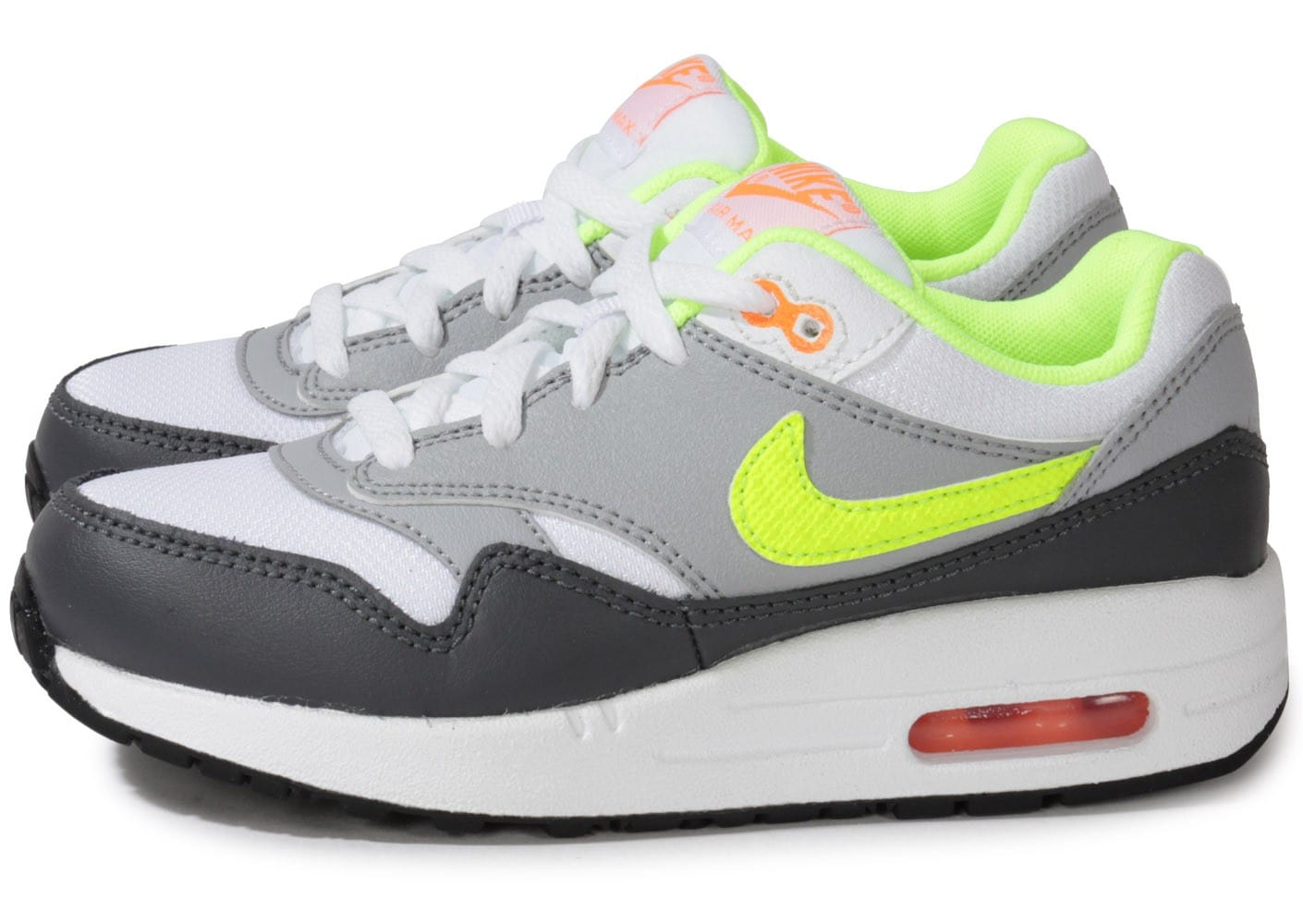 nike air max 1 enfant blanche orange volt chaussures chaussures chausport. Black Bedroom Furniture Sets. Home Design Ideas