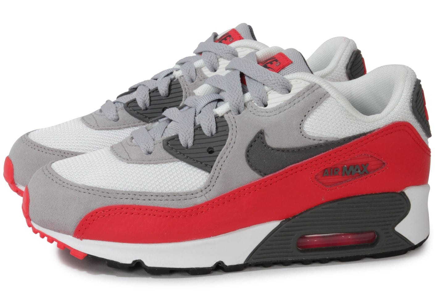 nike air max 90 enfant grise rouge chaussures chaussures chausport. Black Bedroom Furniture Sets. Home Design Ideas