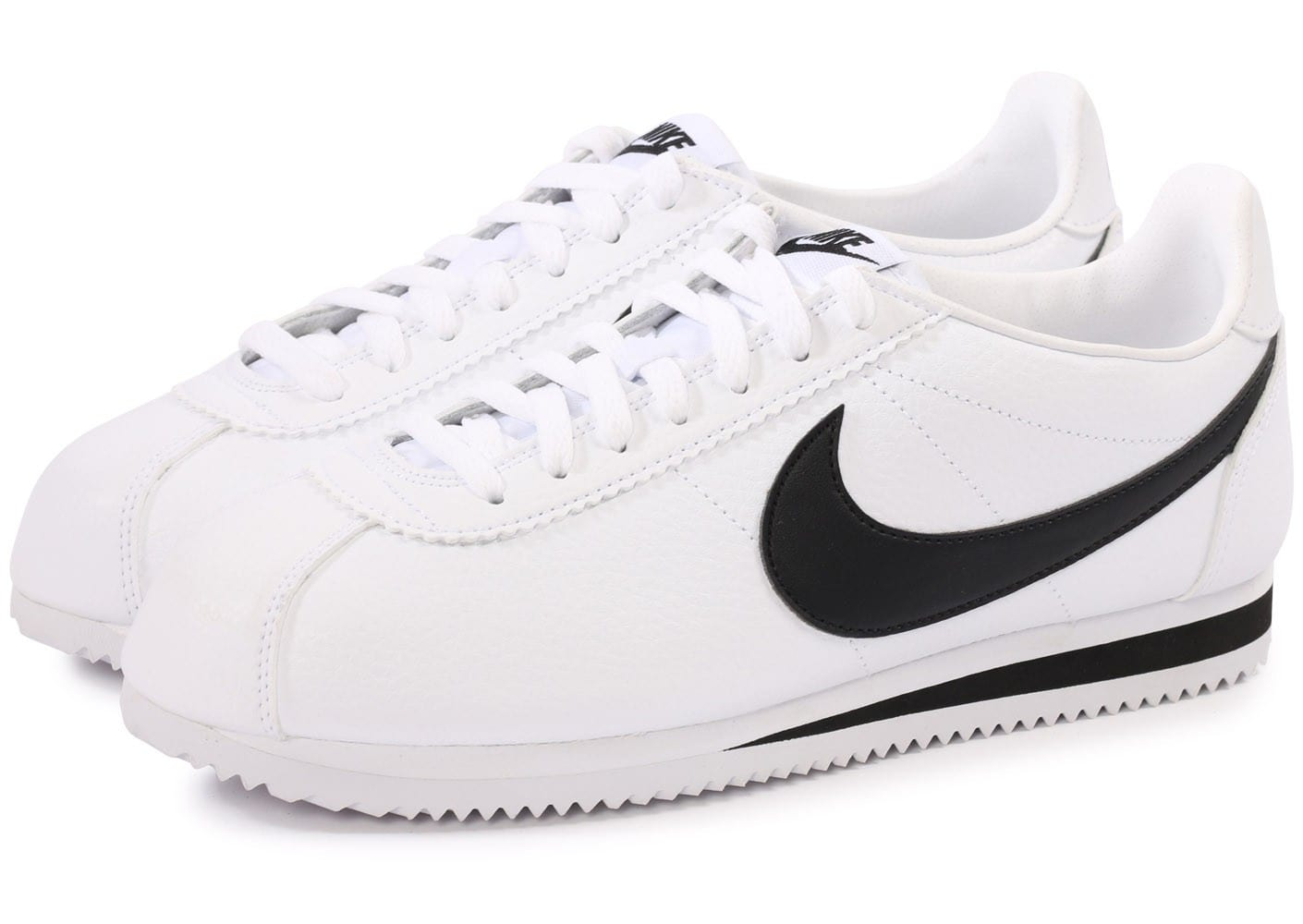 nike cortez leather blanc noir chaussures homme chausport. Black Bedroom Furniture Sets. Home Design Ideas
