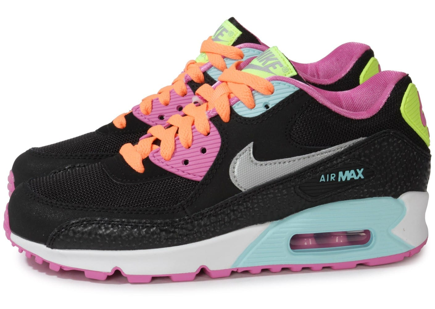 nike air max 90 junior noire et rose chaussures chaussures chausport. Black Bedroom Furniture Sets. Home Design Ideas