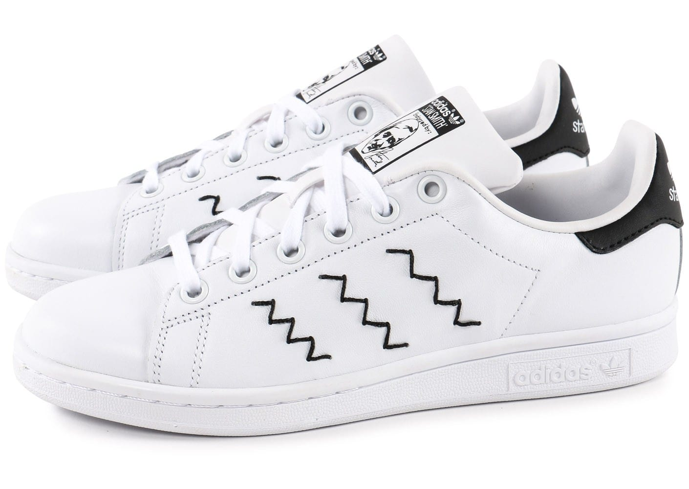 adidas stan smith zigzag blanche et noire chaussures adidas chausport. Black Bedroom Furniture Sets. Home Design Ideas