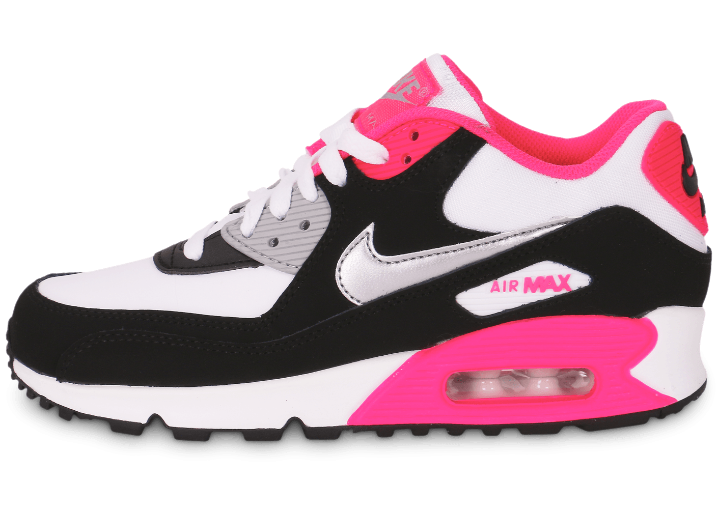 nike air max 90 junior blanc noir rose chaussures chaussures chausport. Black Bedroom Furniture Sets. Home Design Ideas