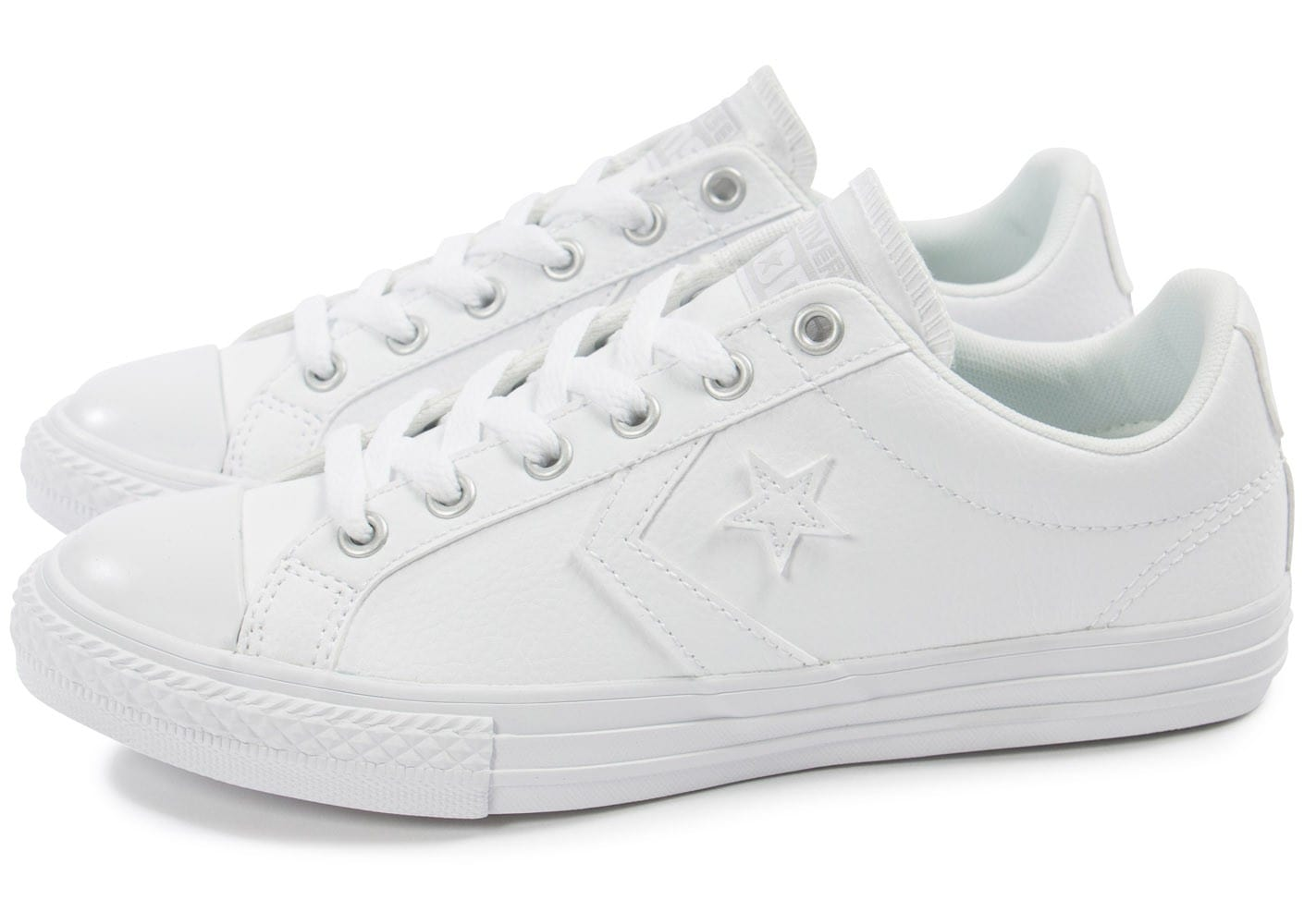 converse star player cuir blanche chaussures enfant chausport. Black Bedroom Furniture Sets. Home Design Ideas