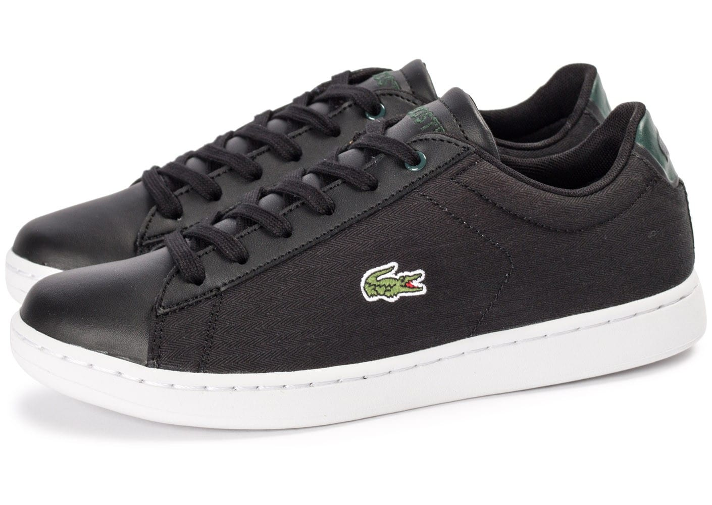 Lacoste carnaby evo junior textile noire chaussures - Lacoste carnaby evo cls baskets en cuir perfore ...