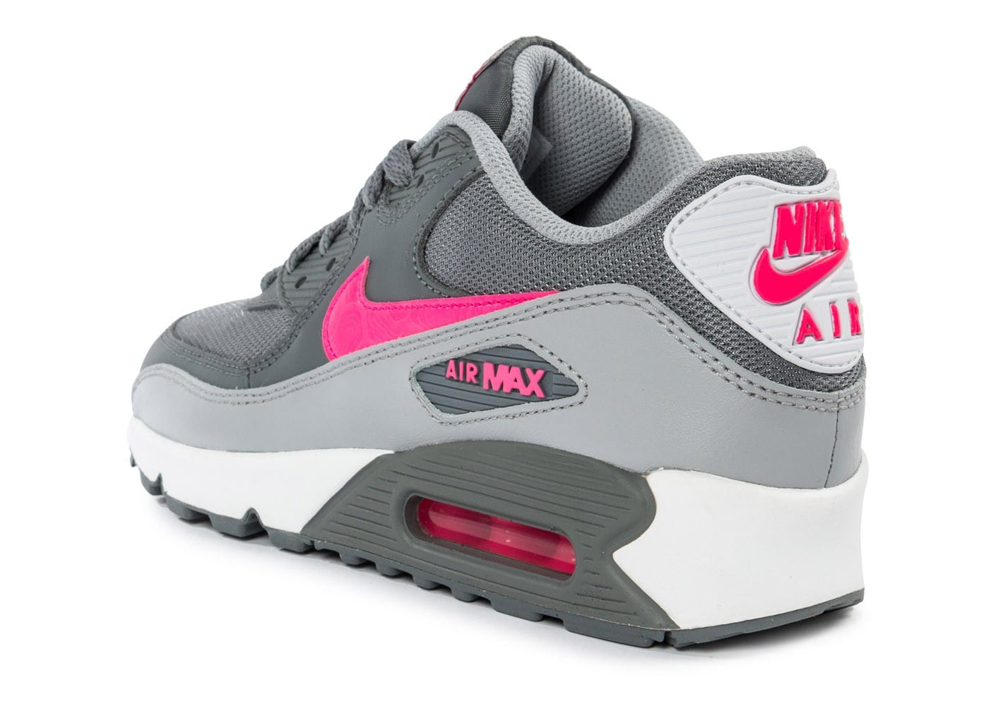 online store 35aec 370c0 chaussures nike air max 90 mesh junior grise et rose vue arriere