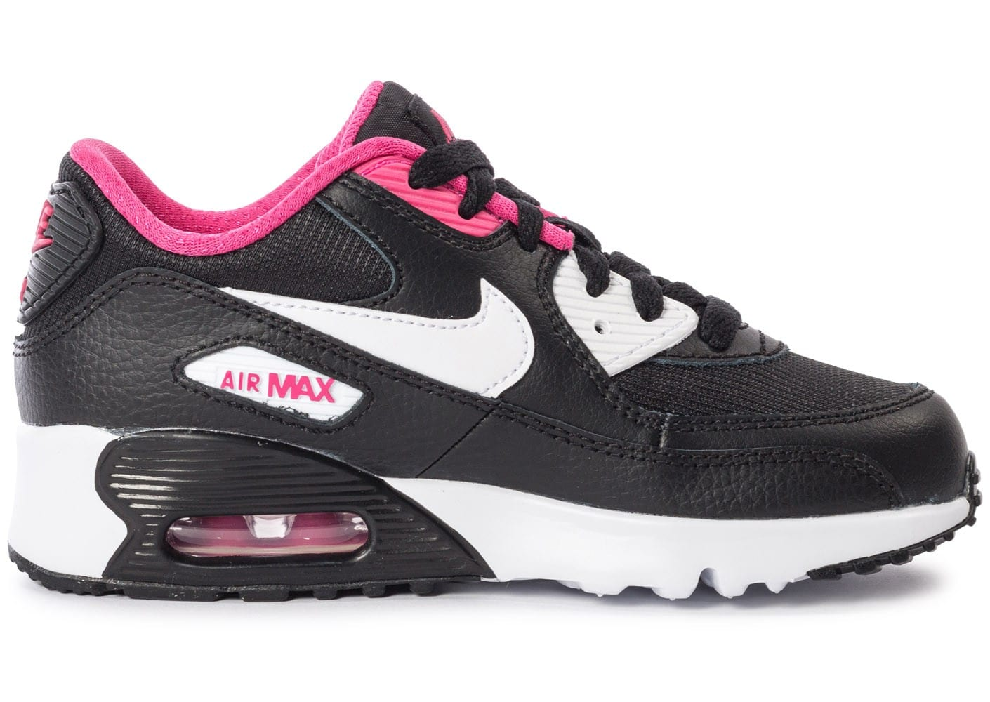 nike air max 90 mesh enfant noir et rose chaussures chaussures chausport. Black Bedroom Furniture Sets. Home Design Ideas