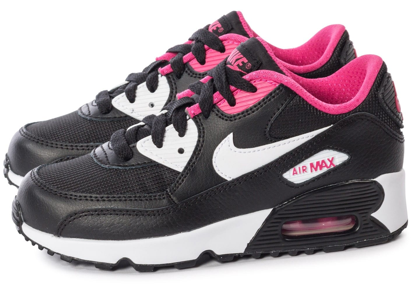nike air max 90 mesh enfant noir et rose chaussures toutes les baskets sold es chausport. Black Bedroom Furniture Sets. Home Design Ideas