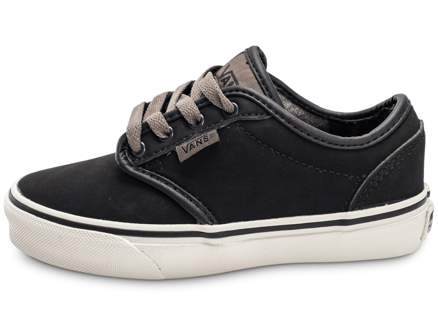 vans atwood low cuir enfant noire chaussures chaussures chausport. Black Bedroom Furniture Sets. Home Design Ideas