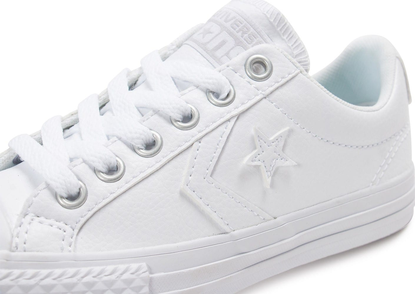 converse star player enfant cuir blanche chaussures enfant chausport. Black Bedroom Furniture Sets. Home Design Ideas