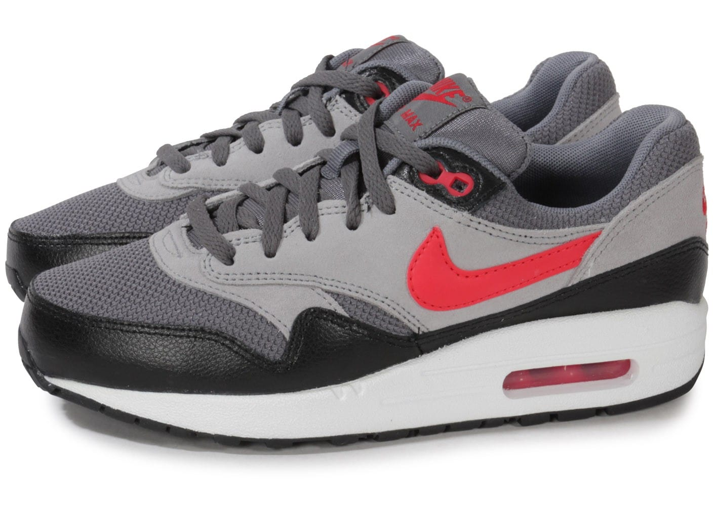 nike air max 1 junior grise team red chaussures chaussures chausport. Black Bedroom Furniture Sets. Home Design Ideas
