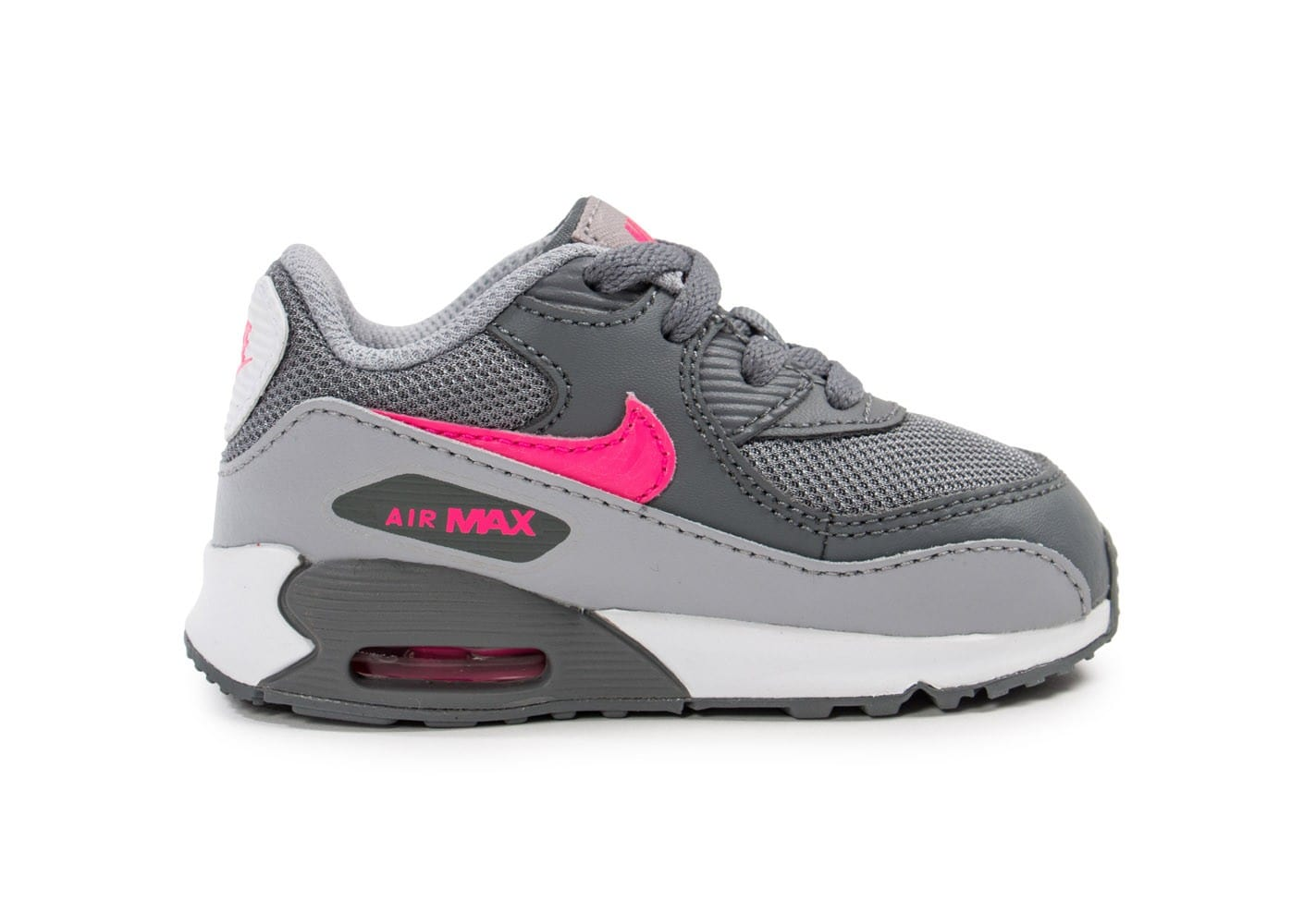 promo code f3186 4fc38 ... chaussures nike air max 90 mesh bebe grise et rose vue interieure