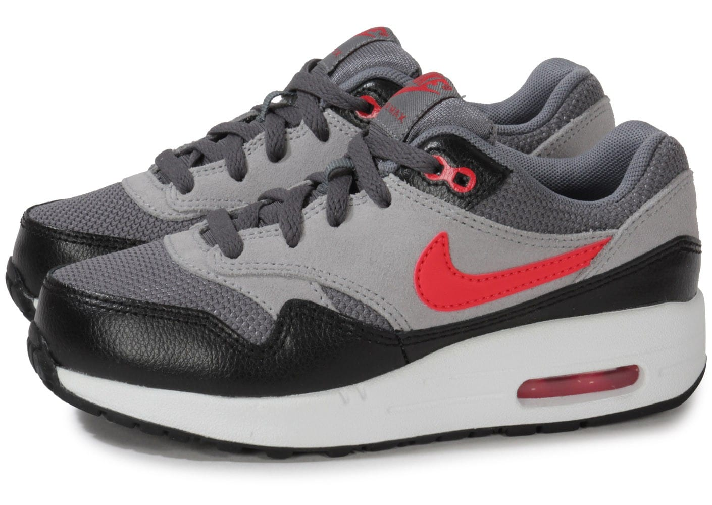 nike air max 1 enfant grise team red chaussures chaussures chausport. Black Bedroom Furniture Sets. Home Design Ideas