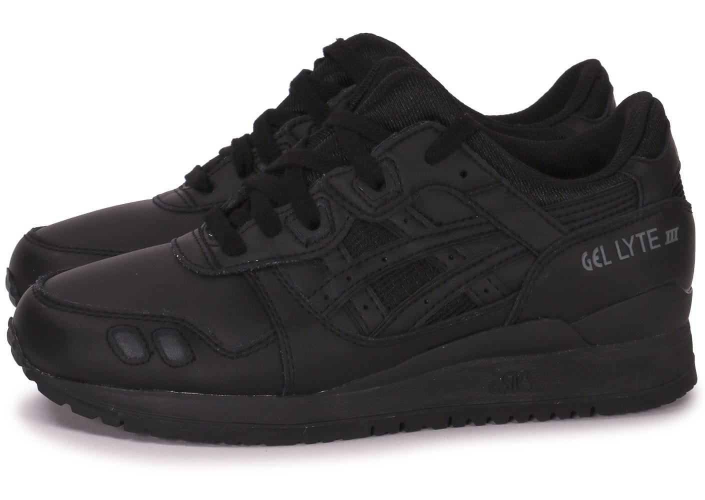 asics gel lyte 3 cuir junior triple noir chaussures chaussures chausport. Black Bedroom Furniture Sets. Home Design Ideas