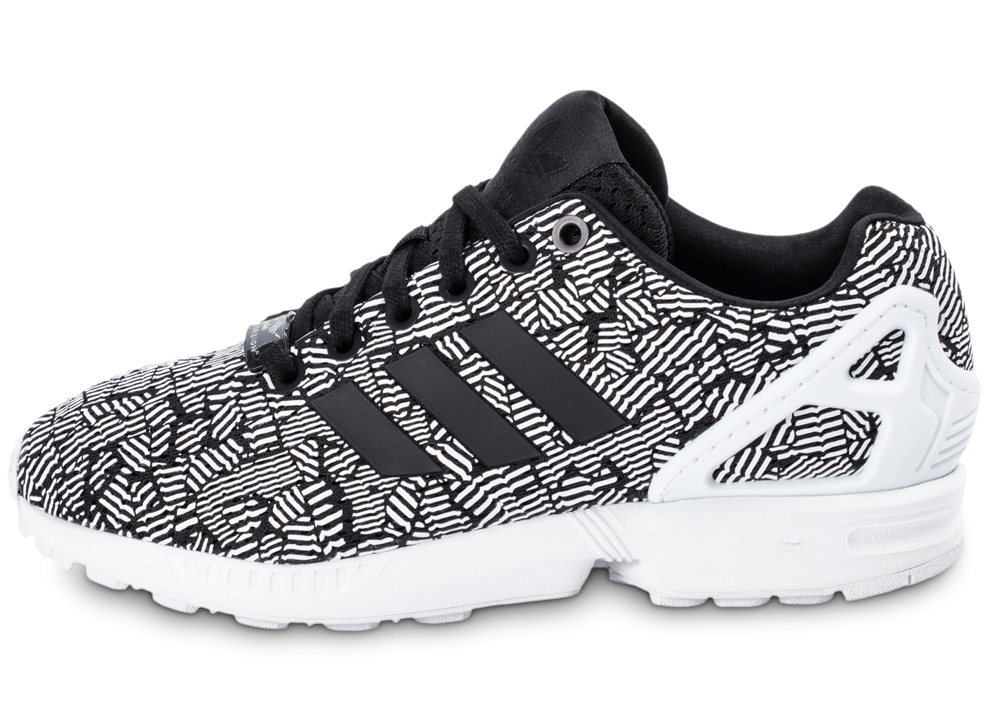 adidas zx flux print blanche et noire chaussures adidas chausport. Black Bedroom Furniture Sets. Home Design Ideas