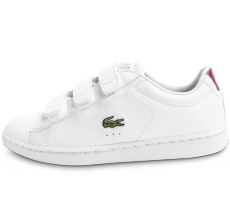 Chaussures Lacoste Carnaby Evo enfant blanche et rouge