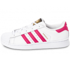 sneakers for cheap 83ccd a0c20 ... chaussures adidas superstar foundation enfant blanche et rose vue  exterieure