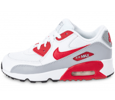 Chaussures Nike Air Max 90 Mesh Enfant blanche et rouge