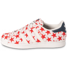 Chaussures adidas Superstar Shell Toe Star Pack blanche et rouge